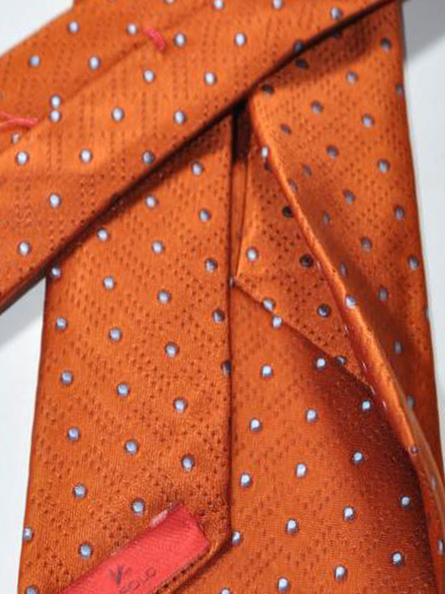 Isaia Sevenfold Tie Rust Orange Sky Blue Dots