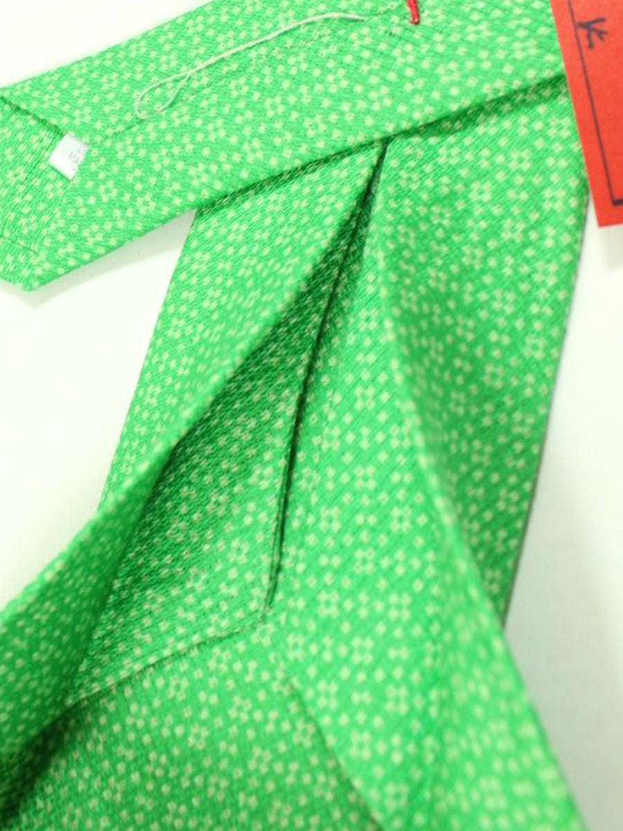 Isaia Sevenfold Tie Green Geometric