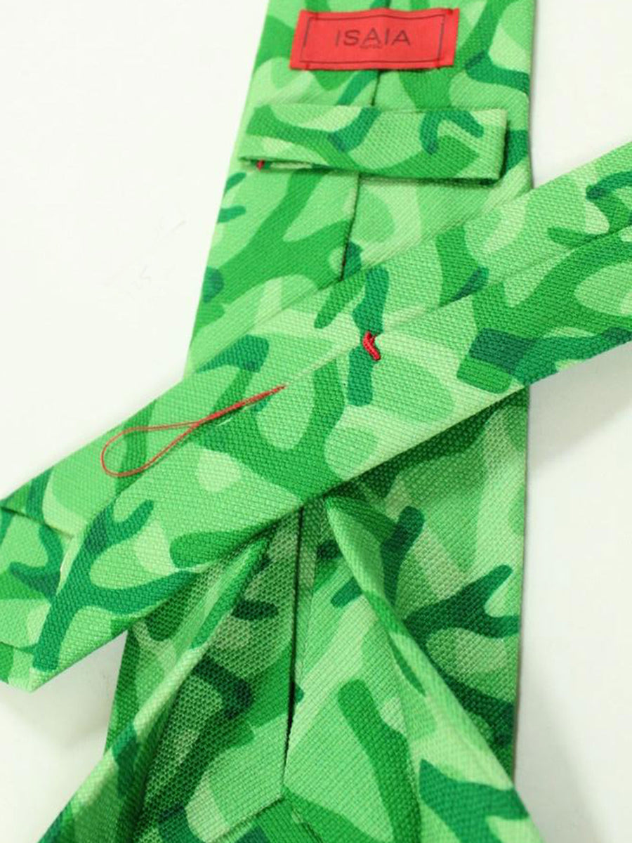 Isaia Sevenfold Tie Green Design