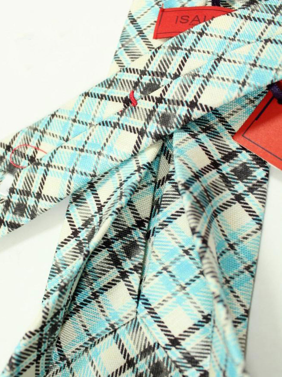 Isaia Sevenfold Tie White Sky Blue Black Plaid