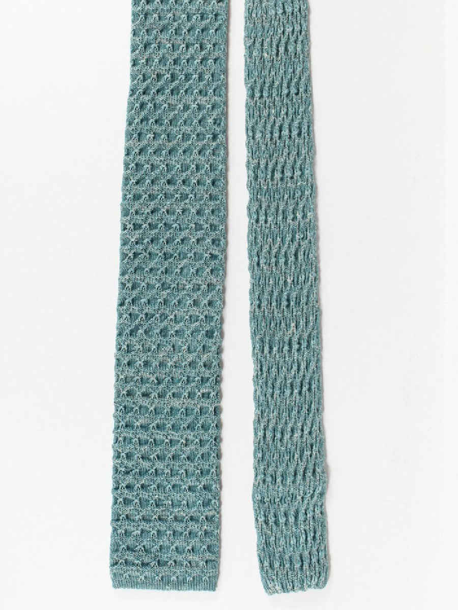 Isaia Square End Knitted Tie Silk Linen Seafoam Gray