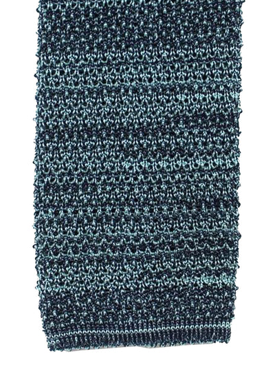 Isaia Square End Knitted Tie Cotton Linen Dark Midnight Blue Skyblue