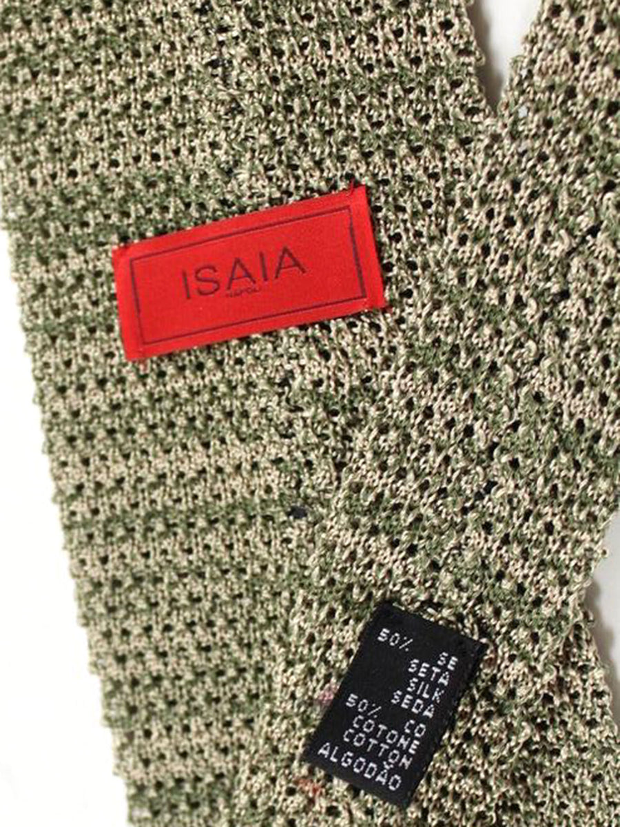 Isaia Square End Knitted Tie Cotton Linen Gray Green