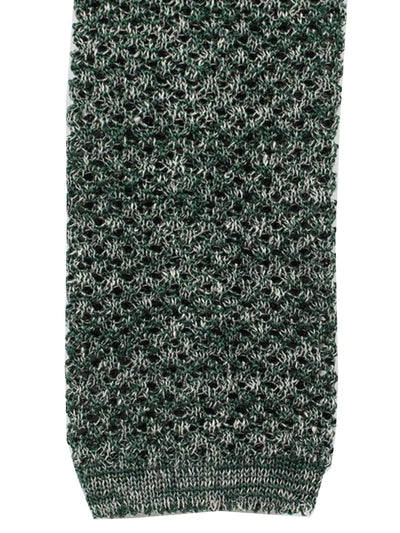 Isaia Square End Knitted Tie Silk Linen Green Gray
