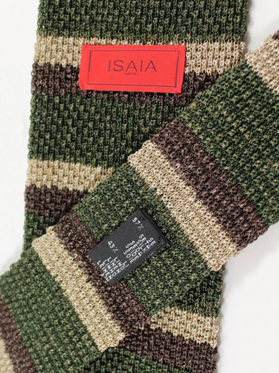 Isaia Square End Knitted Tie Silk Linen Brown Green