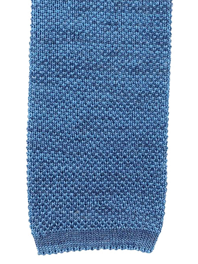 Isaia Square End Knitted Tie Cotton Linen Blue Knit