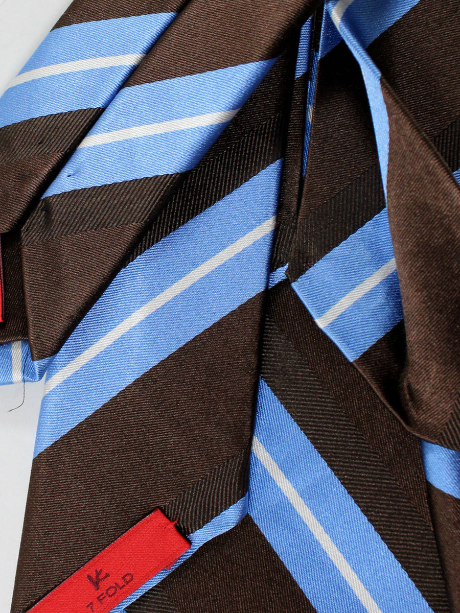 Isaia Napoli Tie Brown Blue Stripes Silk Sevenfold Tie