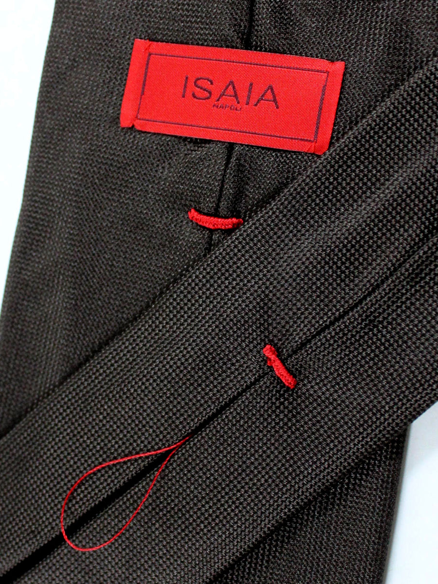 Isaia Napoli Tie Brown Solid