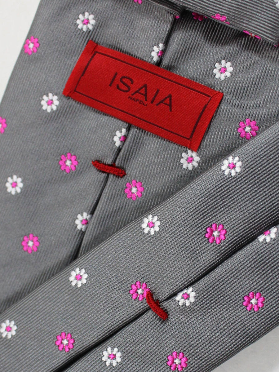 Isaia Napoli Tie Gray Pink Floral