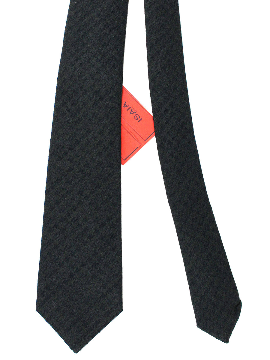 Isaia Napoli Tie Navy Green Design Silk Sevenfold Tie Hand Made In Italy
