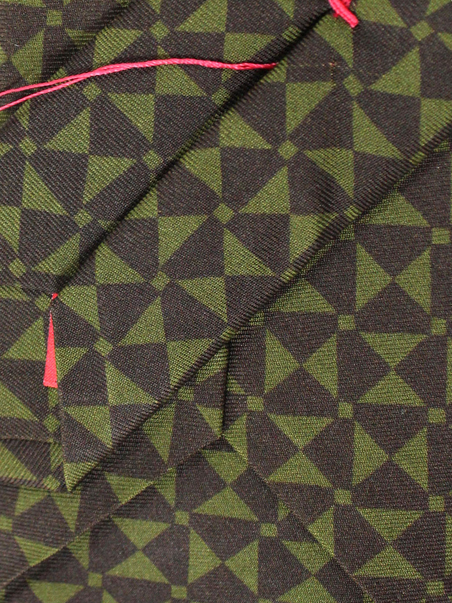 Isaia Napoli Tie Forest Green Brown Geometric Design Silk Sevenfold Tie