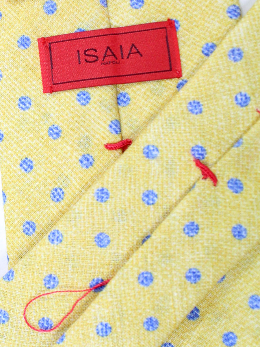 Isaia Tie Yellow Blue Polka Dots Design Linen Sevenfold Tie