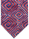 Isaia Tie Navy Red Geometric Design Cotton Sevenfold Tie
