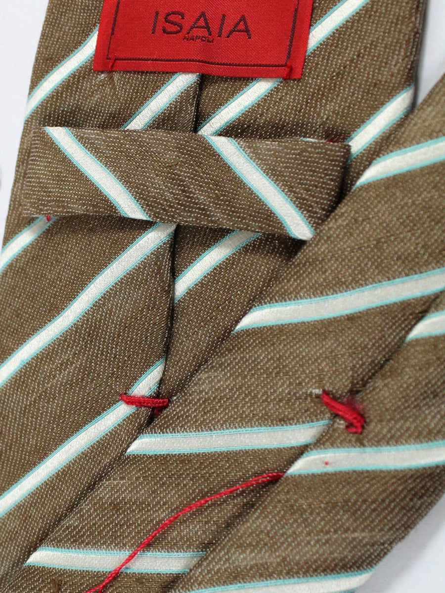 Isaia Tie Brown Silver Lime Stripes Silk Sevenfold Tie