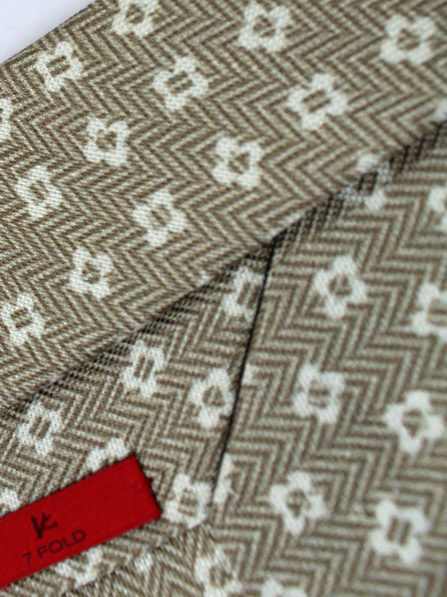 Isaia Tie Taupe White Geometric Linen Silk Sevenfold Tie