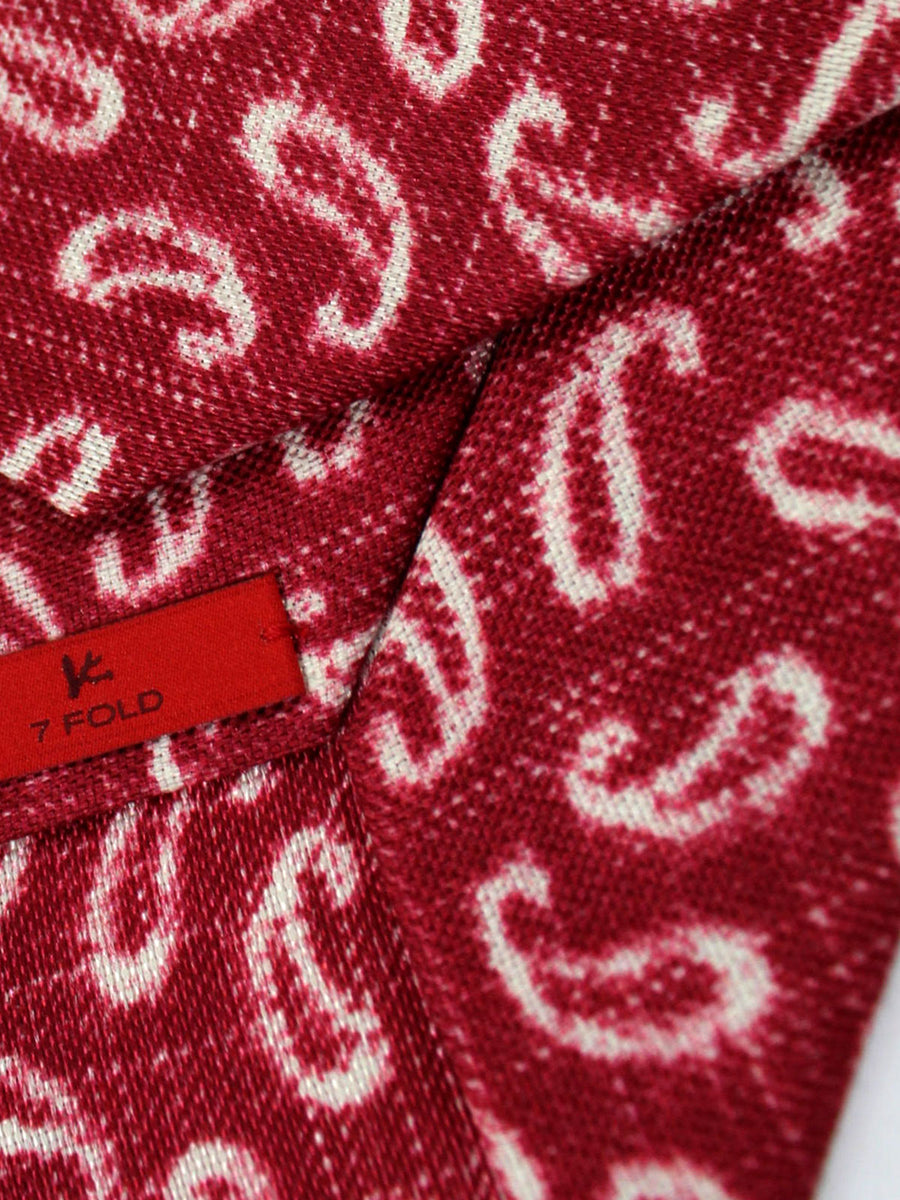 Isaia Tie Cranberry Pink White Paisley Linen Silk Sevenfold Tie