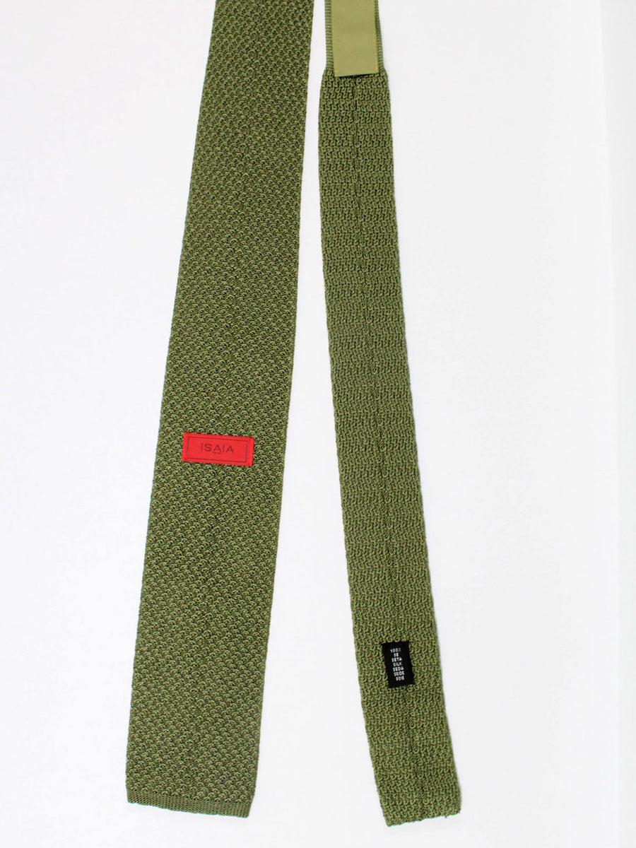 Isaia Square End Knitted Tie Silk Green Knit