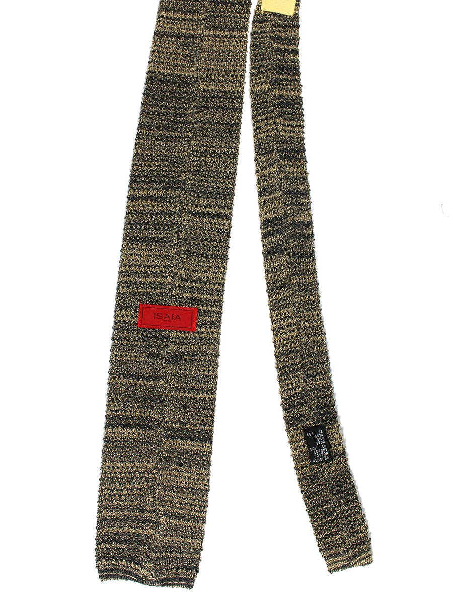 Isaia Square End Knitted Tie Silk Cotton Gray Black Knitted
