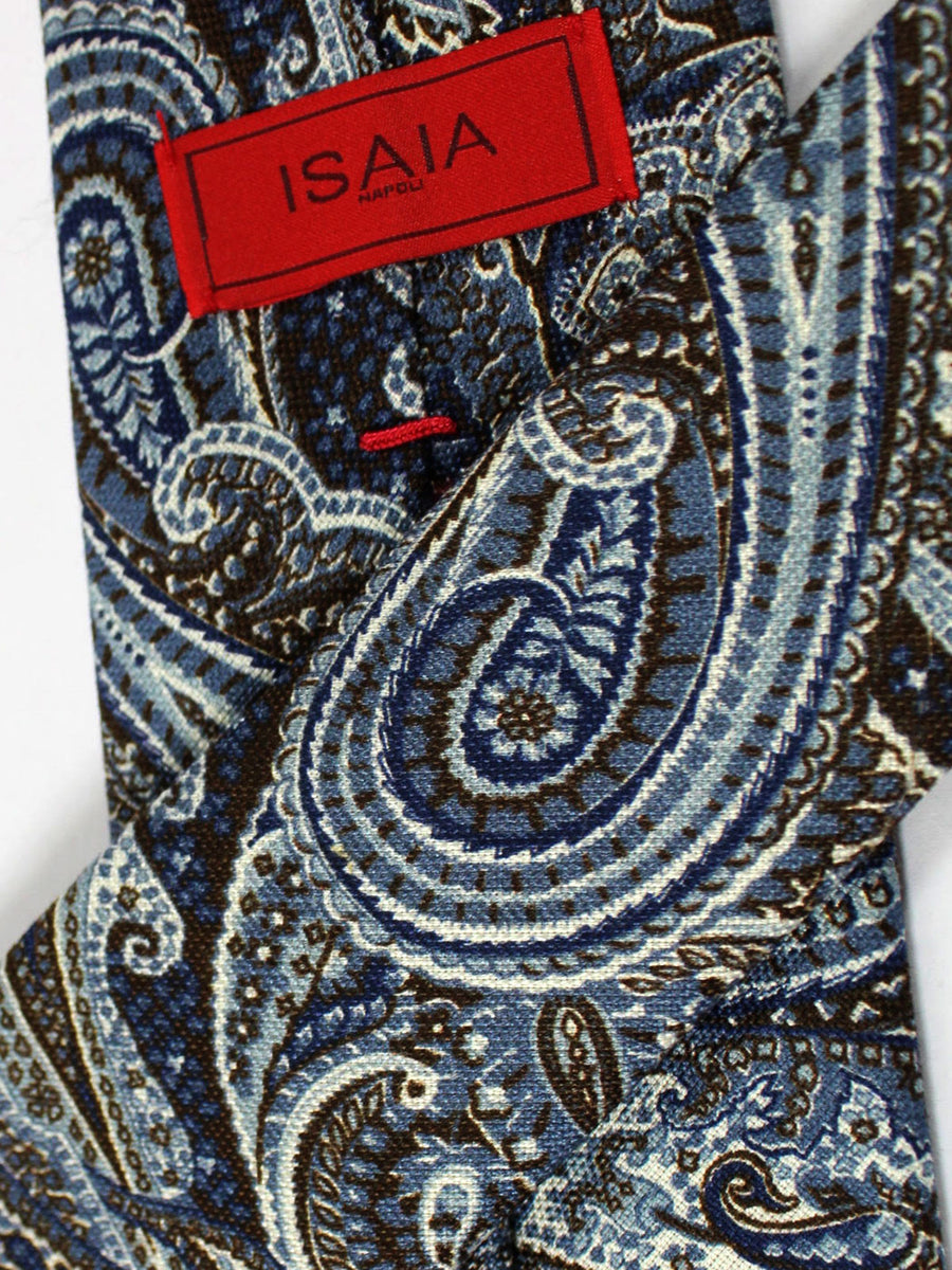 Isaia Tie Blue Gray Brown Ornamental Design Cotton Silk Tie