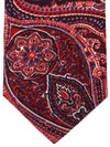 Isaia Tie Red Dark Blue White Ornamental Design Cotton Silk Tie