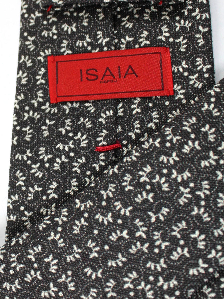Isaia Tie Gray Leaves Design Cotton Silk Tie