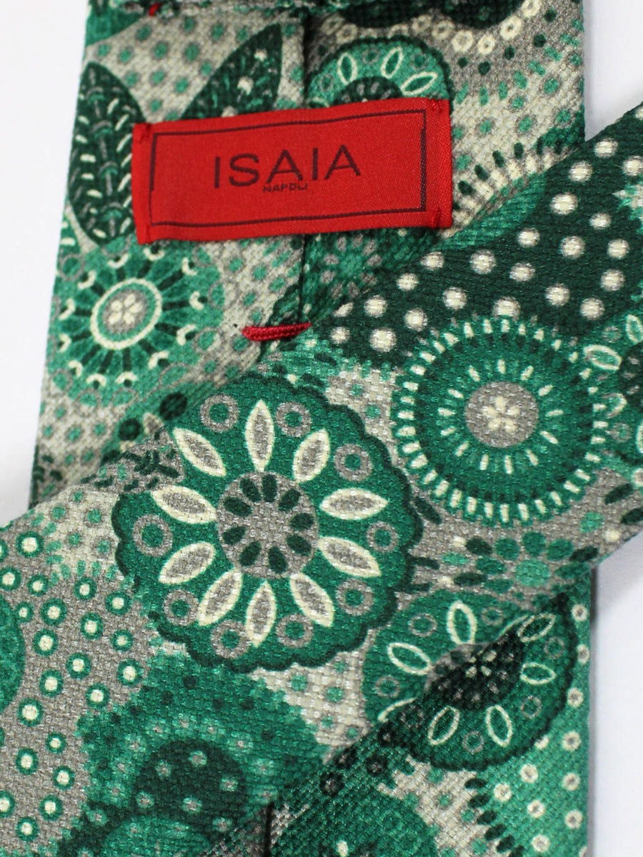 Isaia Tie Green Gray Medallions Design Cotton Silk Tie