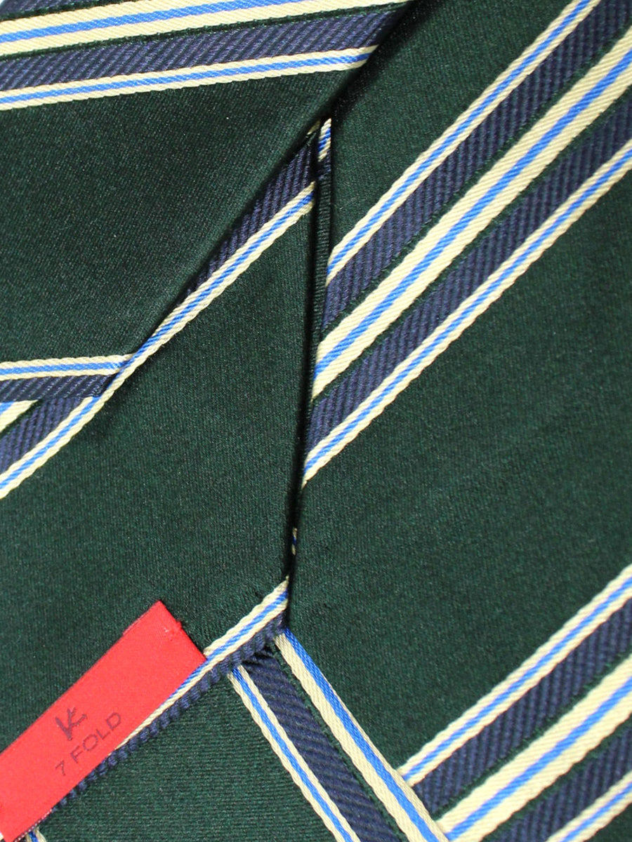 Isaia Tie Green Navy Stripes Silk Sevenfold Tie