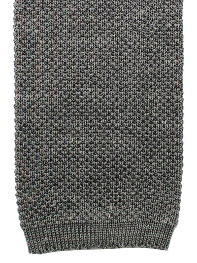 Isaia Square End Tie Charcoal Solid Wool Silk Necktie