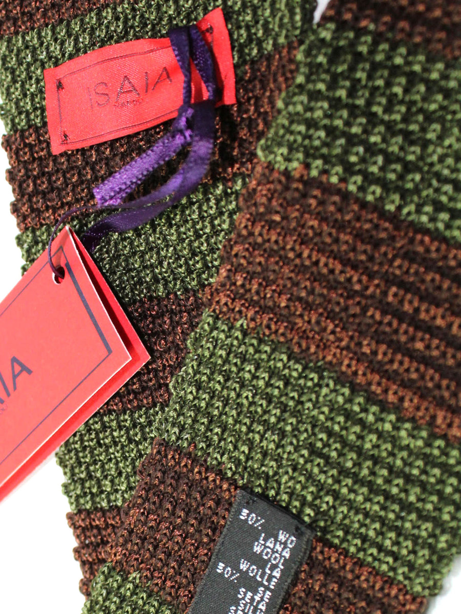Isaia Square End Tie Green Brown Stripes Wool Silk Necktie