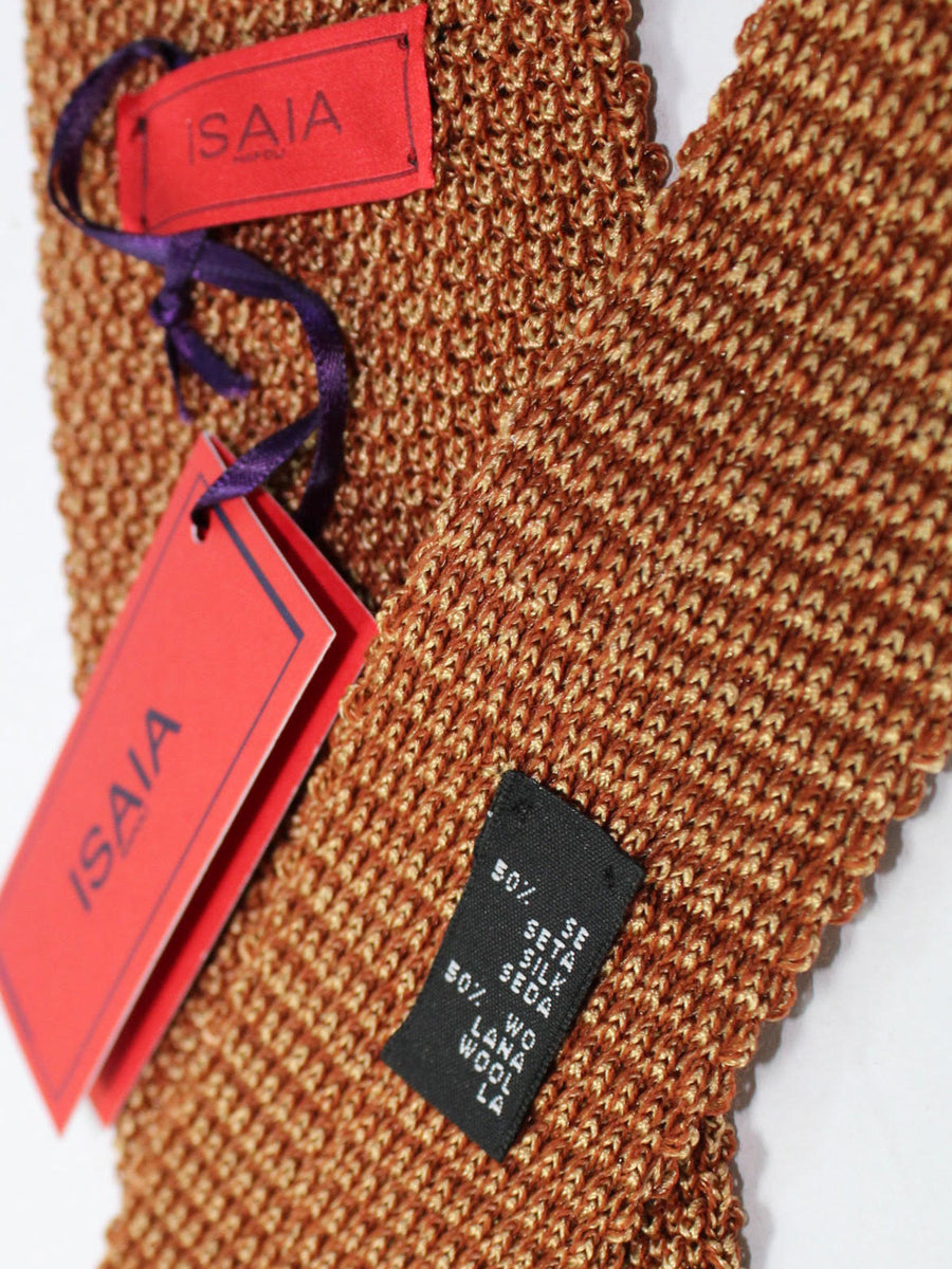 Isaia Square End Tie Brown Gold Solid Silk Necktie