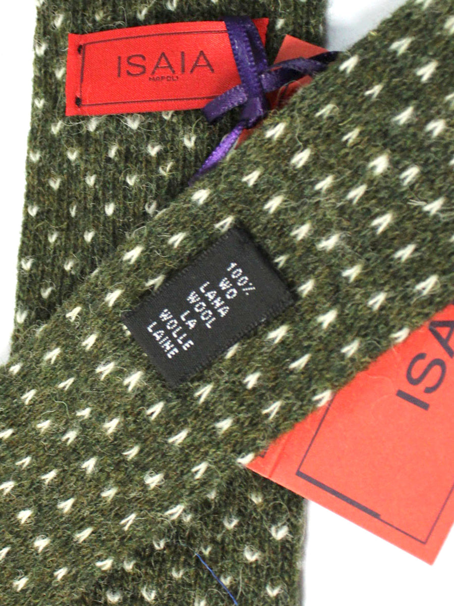 Isaia Square End Tie Green White Wool Necktie