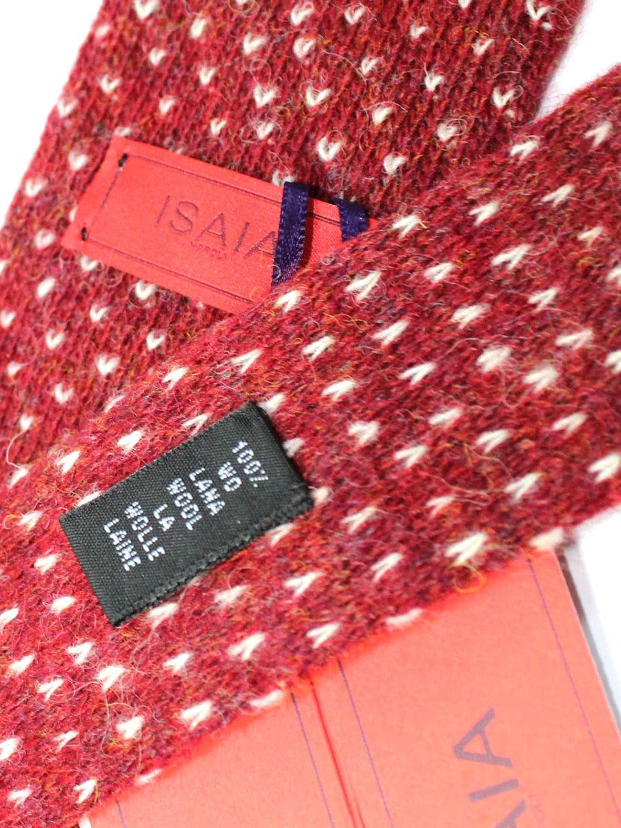 Isaia Square End Tie Burgundy White Wool Necktie