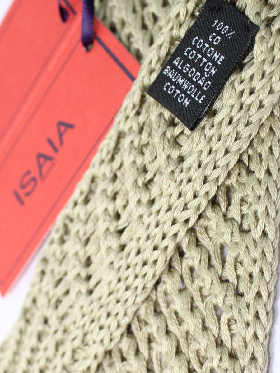 Isaia Square End Tie Beige Knitted Cotton Necktie