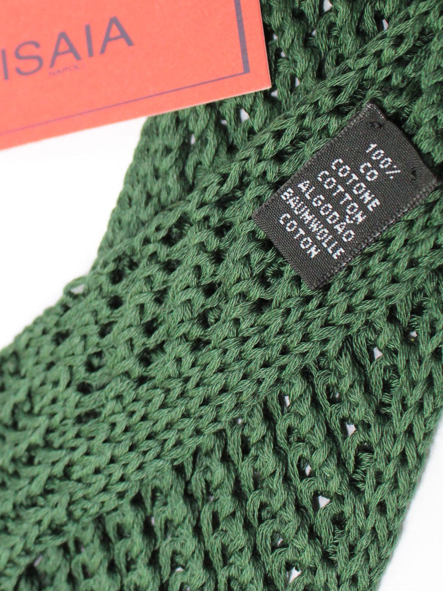 Isaia Square End Tie Green Knitted Cotton Necktie