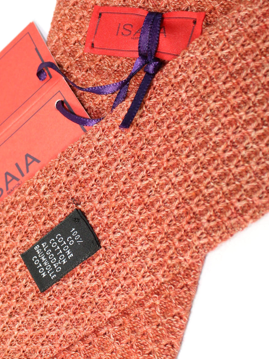 Isaia Square End Tie Rust Orange Knitted Cotton Necktie