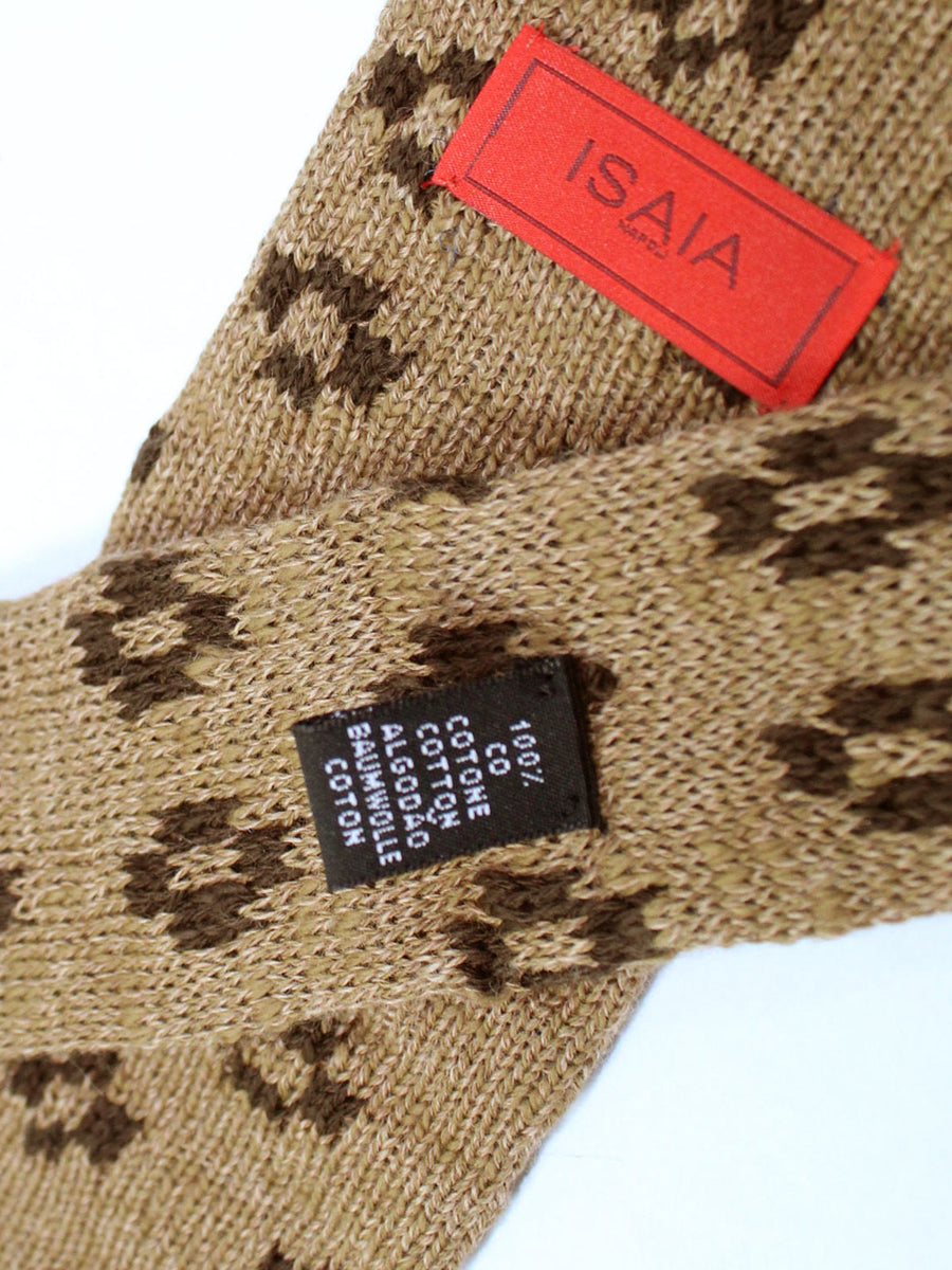 Isaia Square End Tie Cream Brown Geometric Cotton Necktie