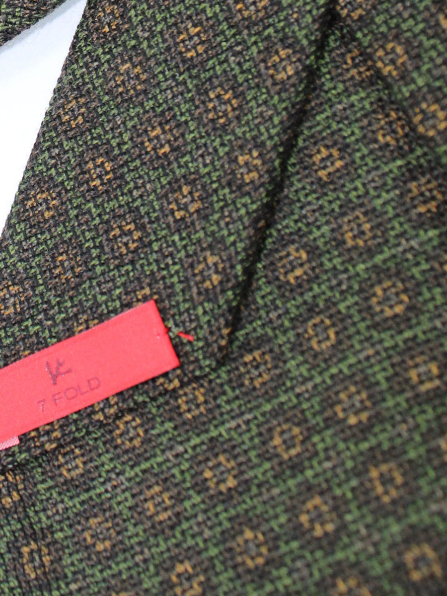 Copy of Isaia Sevenfold Tie Brown Green Circles