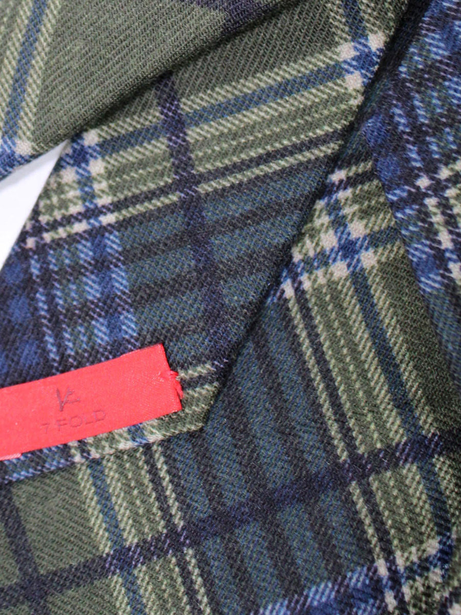 Isaia Sevenfold Tie Green Navy Plaid