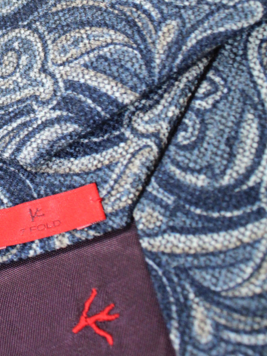 Isaia Sevenfold Tie Navy Gray Ornamental