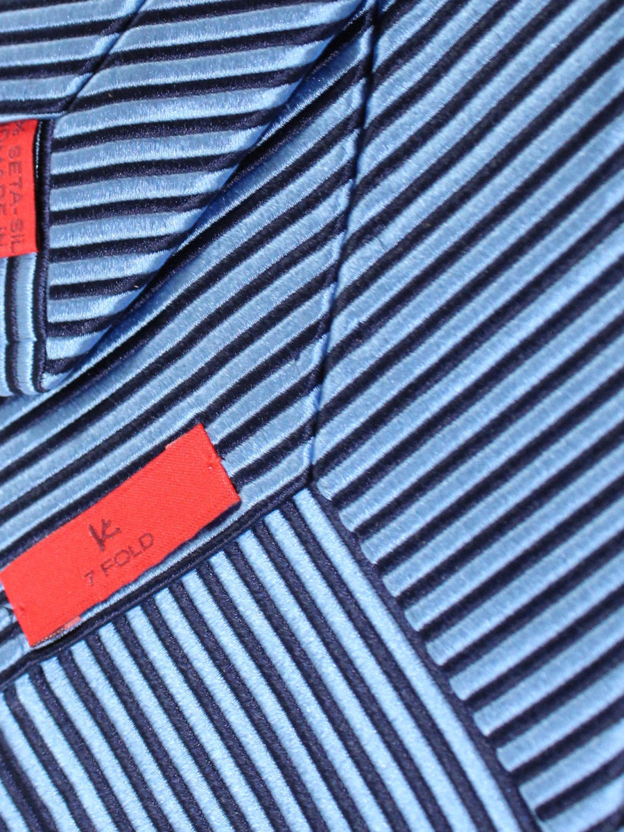 Isaia Sevenfold Tie Blue Navy Stripes