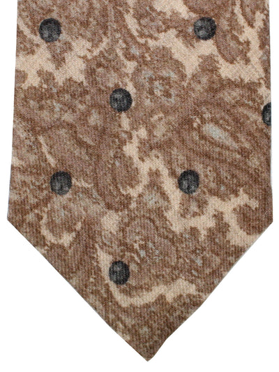 Isaia Sevenfold Tie Cream Brown Ornamental Wool