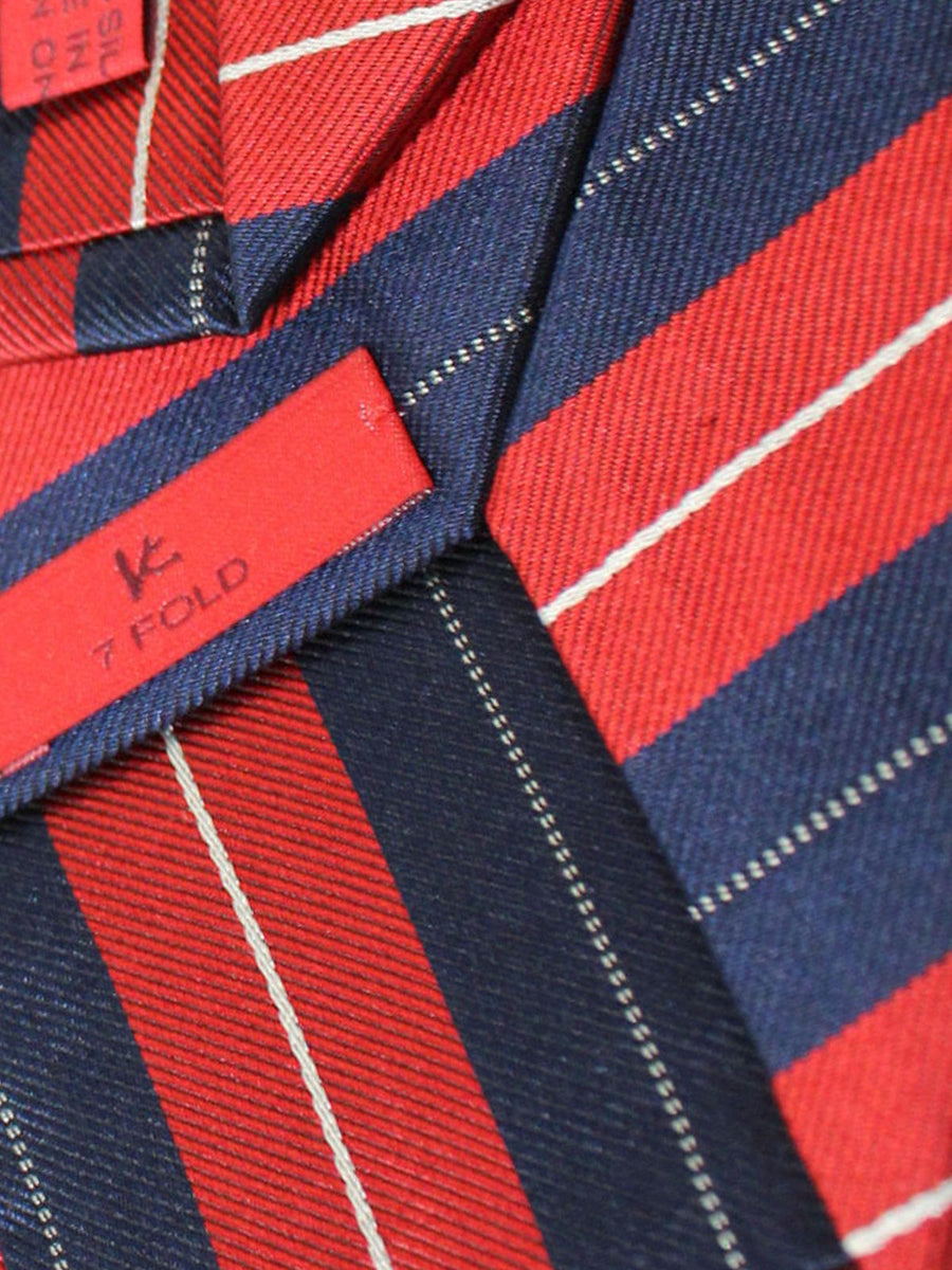 Isaia Sevenfold Tie Navy Red Stripes Silk