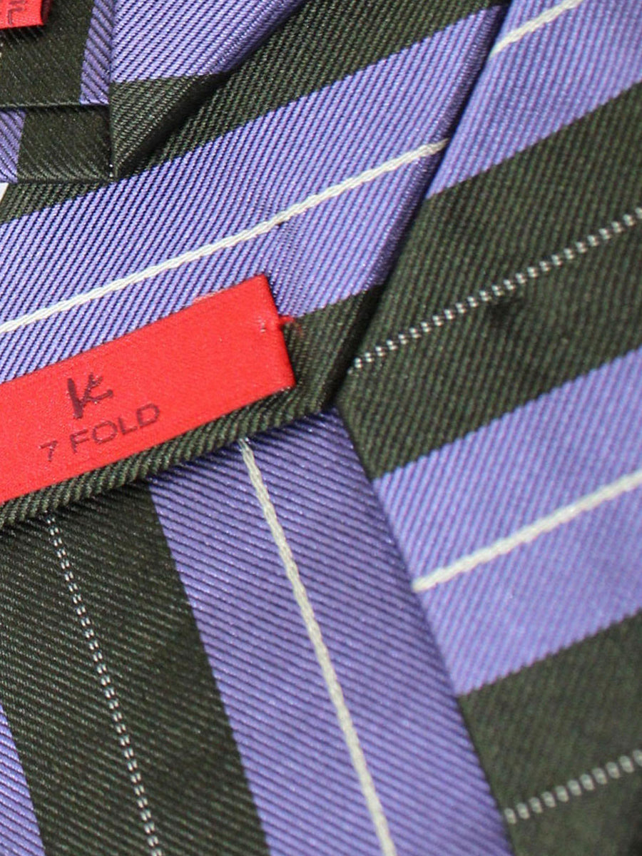 Isaia Sevenfold Tie Black Purple Stripes Silk