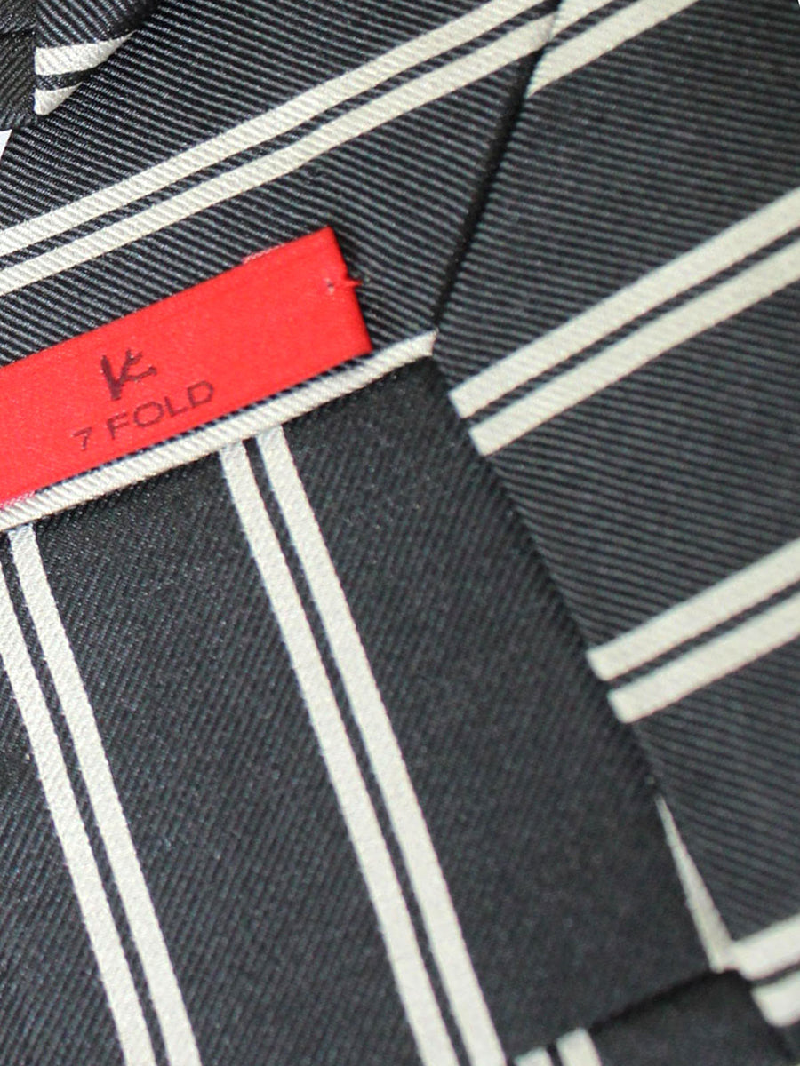 Isaia Sevenfold Tie Dark Blue Silver Stripes Silk