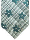 Isaia Sevenfold Tie Green Floral Cotton Silk