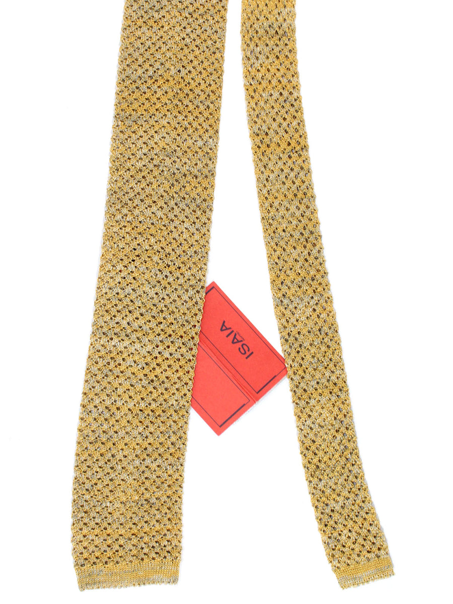 Isaia Square End Tie Gray Mustard Knitted Linen Cotton Necktie