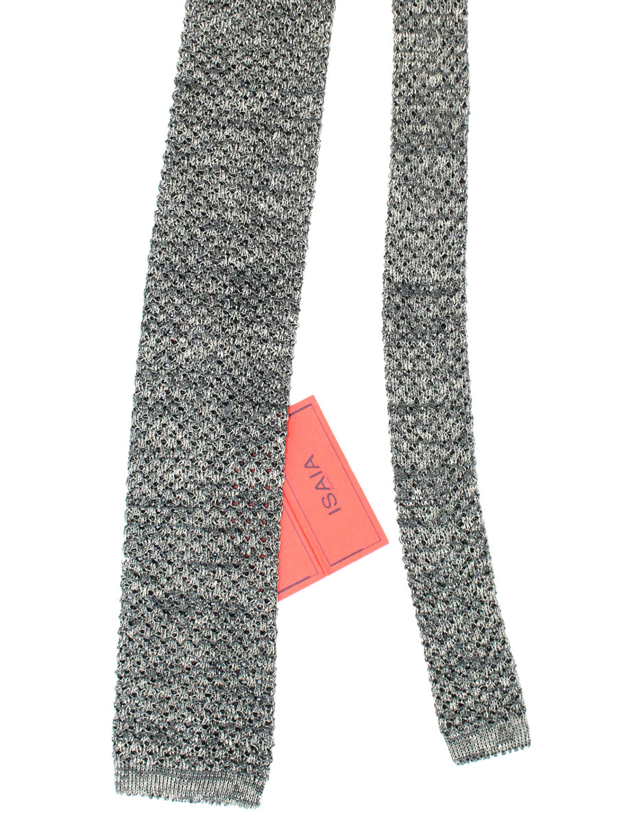 Isaia Square End Tie Gray Knitted Linen Cotton Necktie
