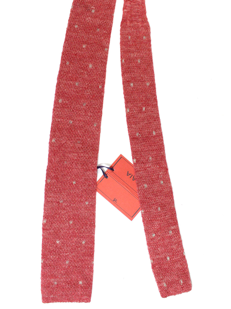 Isaia Square End Tie Light Red Knitted Linen Necktie