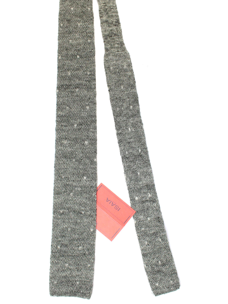 Isaia Square End Tie Charcoal Gray Knitted Linen Necktie