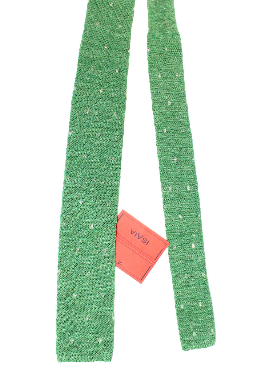 Isaia Square End Tie Green Gray Knitted Linen Necktie